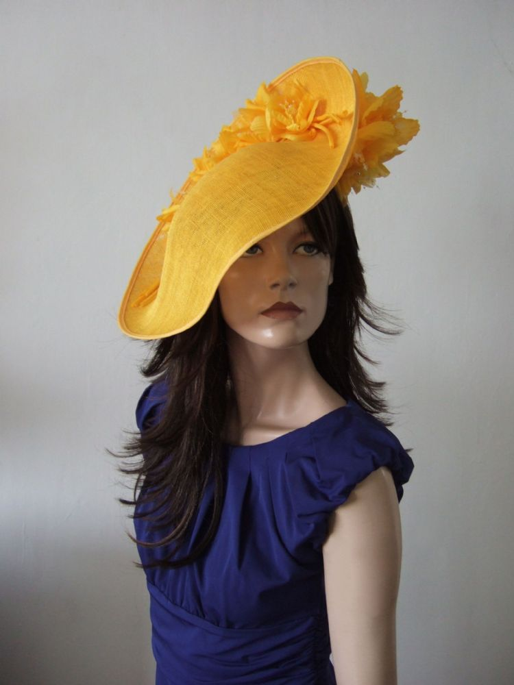 "Golden Yellow  Slice Saucer Hat Headpiece Silk Roses Flowers Hat ""Fern"""
